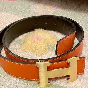 Hermès H Reversible Leather Belt Tan Black Gold
